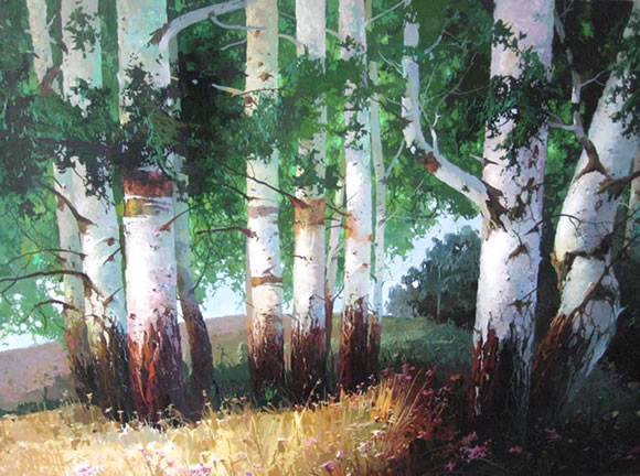 Oil Paintings of Birch Trees Birch Trees Original Oil