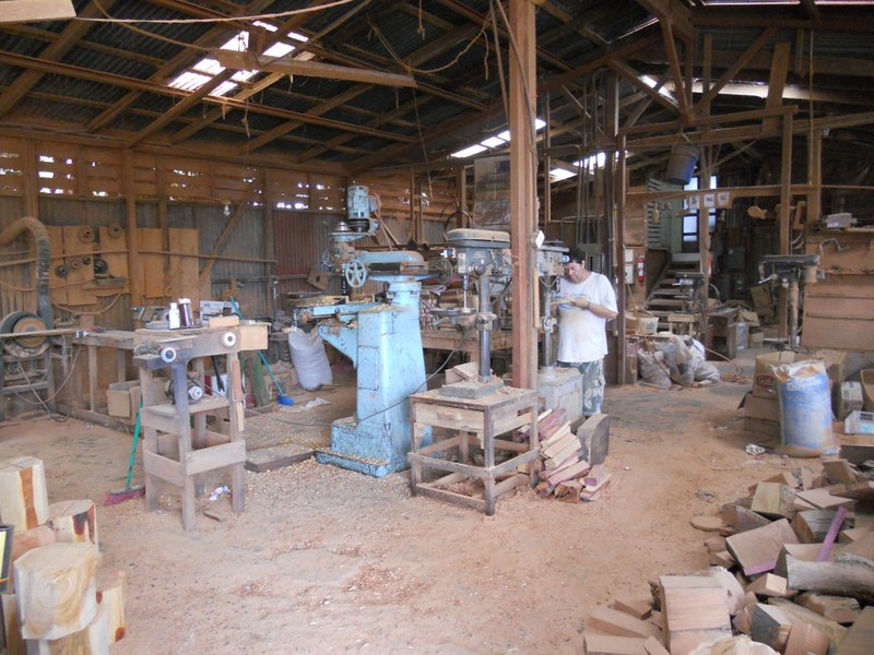 Inside one of the                     workshops