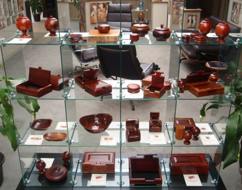 Cocobolo boxes on display today