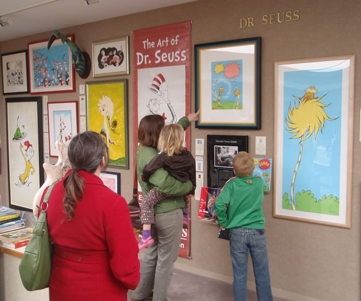 Visitors to the Saper Galleries                                   Dr. Seuss display
