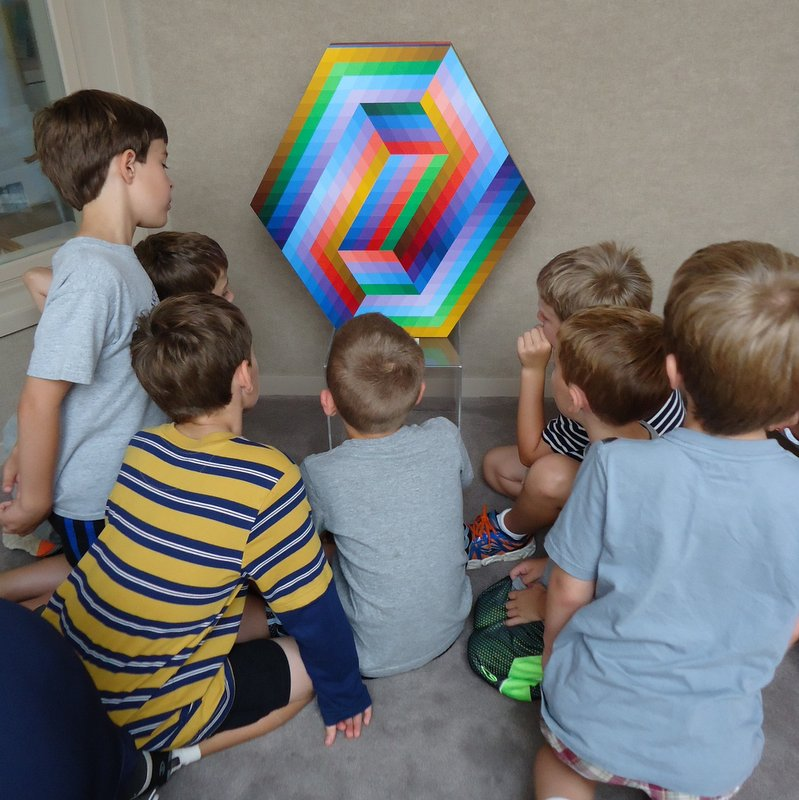 EC3 students and                       Vasarely sculpture