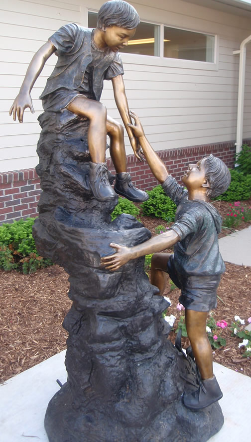 Hand to Hand Combat Sculpture Helping Hand Sculpture
