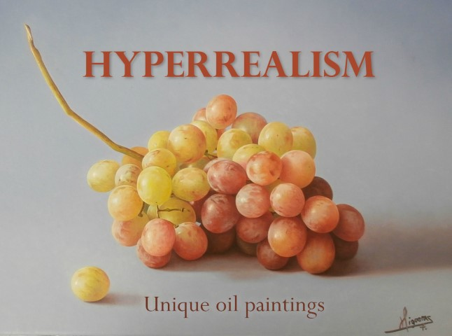 Five artists painting                                                           hyperrealism                                                           style imagery
