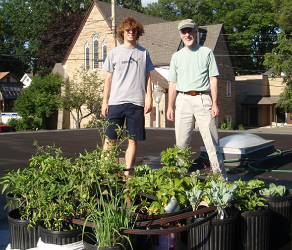 Jay                                 and Roy Saper at rooftop garden