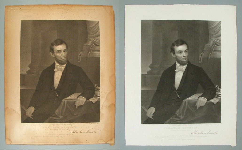 Lincoln engraving                 before and after treatment