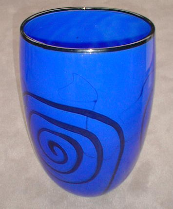 Blue with Black Spiral