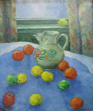 Pitcher On A Blue Draped Table With Fruit