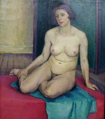 Seated Nude with Green Screen
