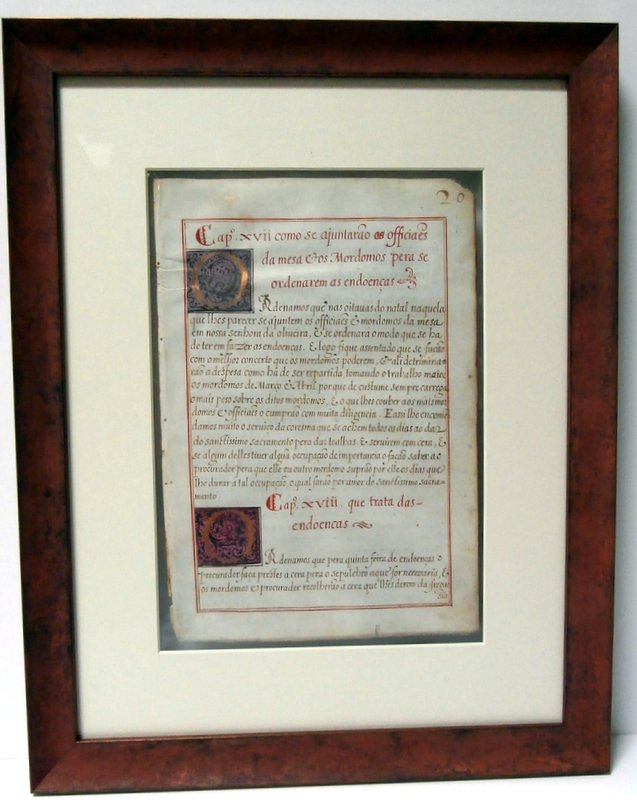 Ancient illuminated                 manuscript framed to view front and back sides